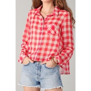 Free People Sheer Red Gingham Button Down Blouse